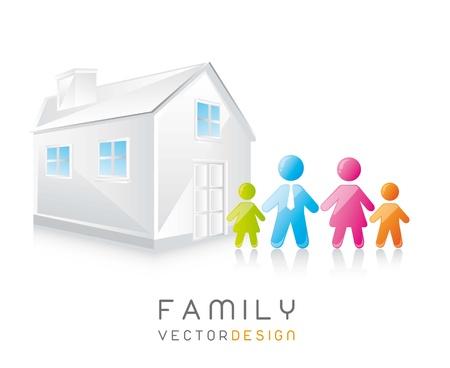 la familia y la casa linda con la sombra. ilustración vectorial