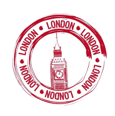 big ben tower: red london stamp over white background. vector illustration Illustration