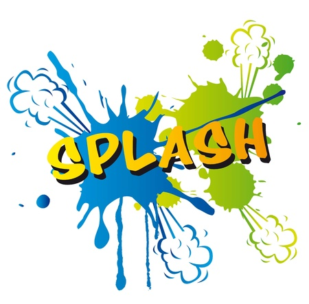 splash isolated over white background, comic catoon. vector illustration