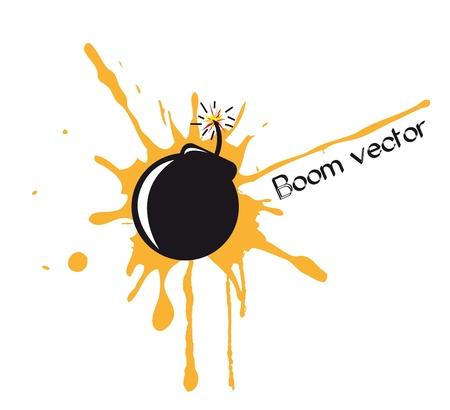detonated: bomb comic over white background. vector illustration