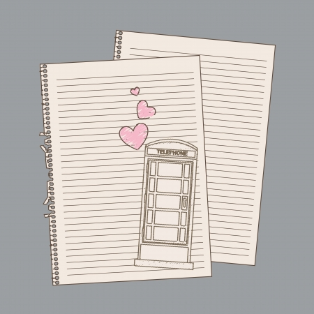 romantic draw over paper notebook. vector illustration Vector