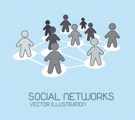 social network with men icons over blue background. vector Stock Vector - 14452448