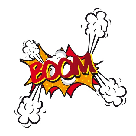 boom box: comic explosion and shock, boom. vector illustration