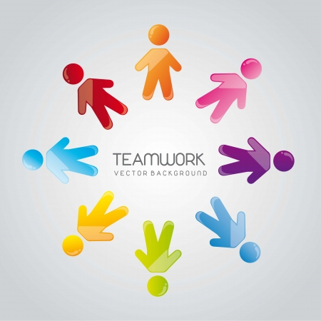 social group teamwork over gray background. vector illustration  Stock Vector - 14452534