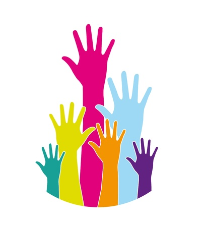 colorful hands over white background. vector illustration Stock Vector - 14452449