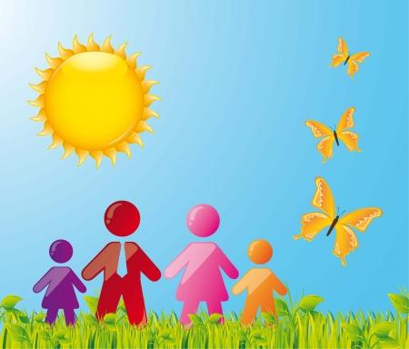familiy: familiy over summer beautiful landscape. vector illustration