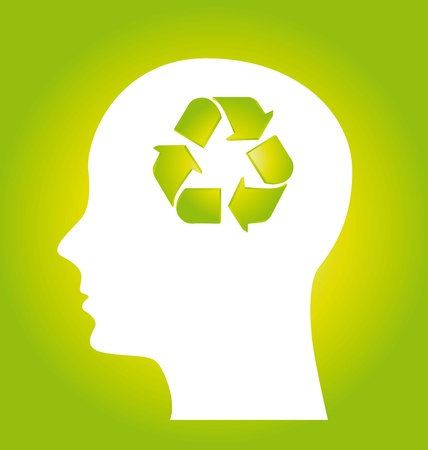 human think about recycling, green. vector illustration Stock Vector - 14452460
