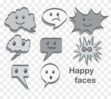 text balloon with happy face, gray color. vector illustration Vector