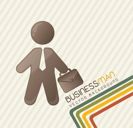 cute businessman with lines, vintage. vector illustration Stock Vector - 14452508