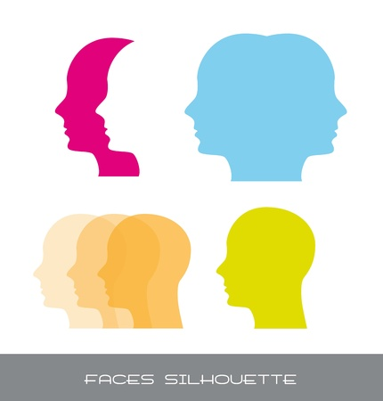 silhouette faces over white background. vector illustration Vector