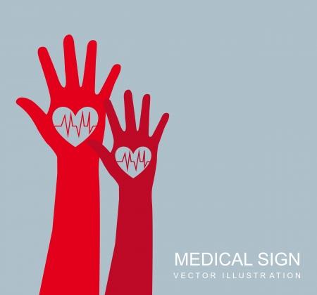medical background: red hands over gray background, medical sign. vector illustration