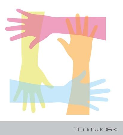 hands over white background, teamwork. vector illustration Vector