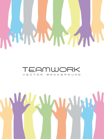 charity person: cute hands over white background, teamwork. vector
