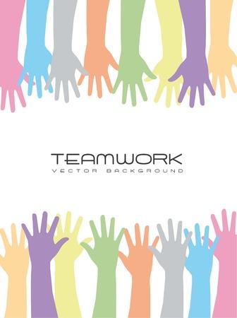 democracia: manos lindo sobre fondo blanco, trabajo en equipo. vector