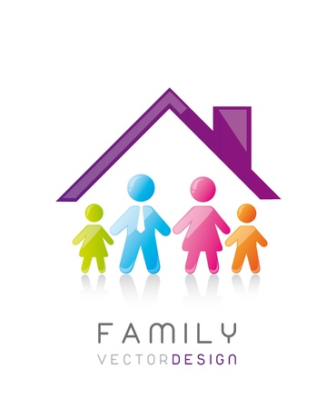 parenting: colorful family with house, conceptual. vector illustration