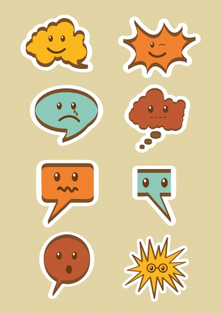 cute text balloons with face, vintage. vector illustration Vector