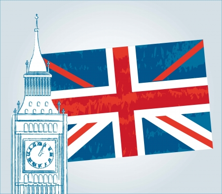 tower clock with flag london. vector illustration Vector
