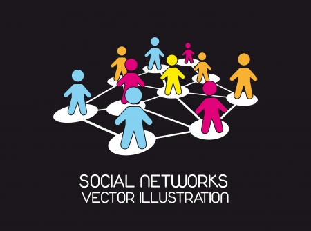 social network with colorful men icons over black background. Stock Vector - 14452438