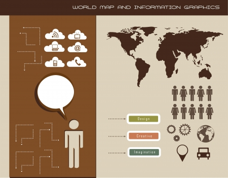 world map and information graphics, vintage style. vector Vector