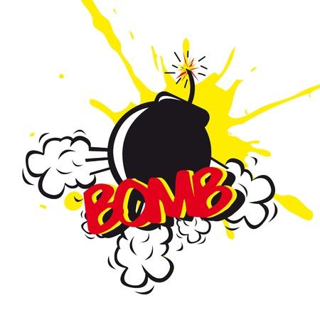 nuclear bomb: bombardear c�mica sobre fondo blanco. ilustraci�n vectorial