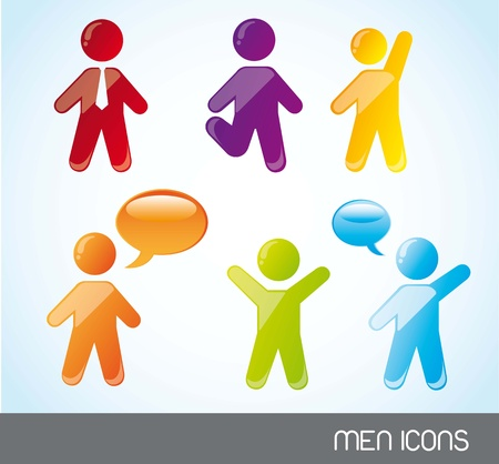 colorful men icons over blue background. vector illustration Stock Vector - 14452507