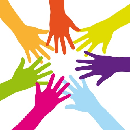 many people: colorful hands over white background. vector illustration