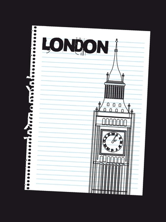 tower clock draw on paper, london. vector illustration Vector