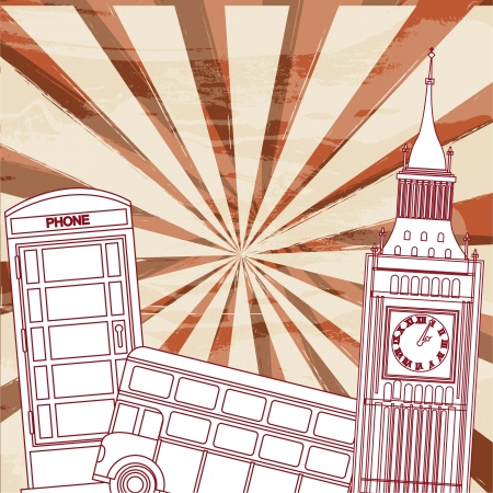 telephone booth: london elements over grunge background. vector illustration