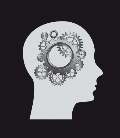 Silhouette of man with gears.  vector illustration Vector