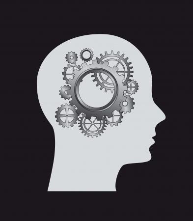 Silhouette di uomo con ingranaggi. illustrazione vettoriale