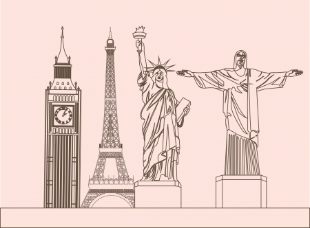 historic building: tower clock, tower eiffel with statue of liberty and Christ the Redeemer. vector