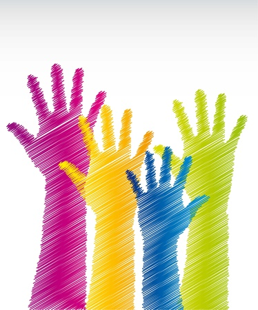 colorful scrawled hands over white background. vector illustration Vector