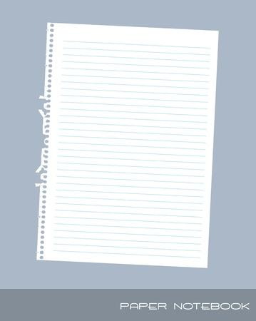 paper notebook over blue background. vector illustration Vector