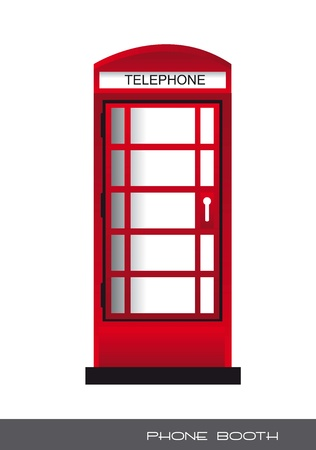 vintage telephone: red telephone booth, london. vector illustration