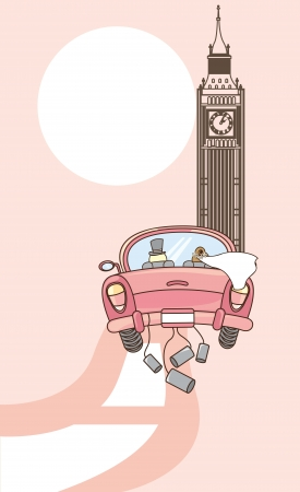 husbands to london, just married. vector illustration Ilustração
