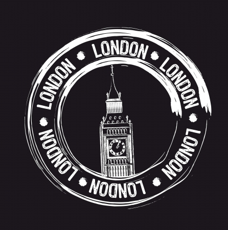 big ben tower: white london grunge stamp over black background. vector Illustration