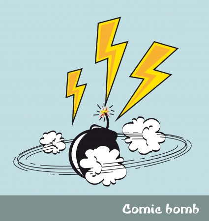 bomb and bolt, pop art style. vector illustration Vector