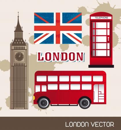 cabina telefono: cabina telef�nica, la bandera de Londres con el autob�s y la torre del reloj. ilustraci�n vectorial Vectores