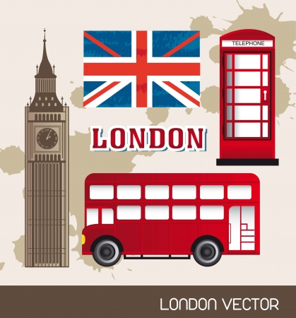 telephone booth: telephone booth,  flag london with bus and tower clock. vector illustration