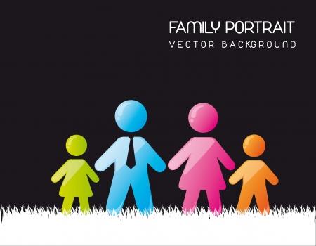 potrait famille sur fond d'herbe. illustration vectorielle