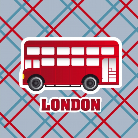 double decker: red london bus over patter background. vector illustration