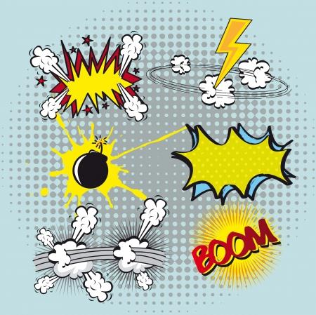 explosie: ingesteld boek komische explosie, kleurrijk. vectorillustratie