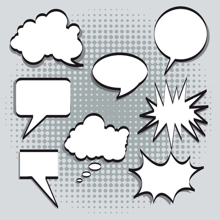 thought balloon: Text balloons in comic style on gray background. vector illustration
