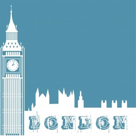 silueta de reloj de la torre sobre fondo azul. ilustración vectorial