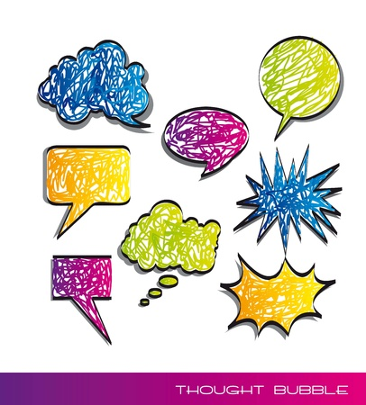 Scrawled of colored text balloons on white background. vector illustration Vector