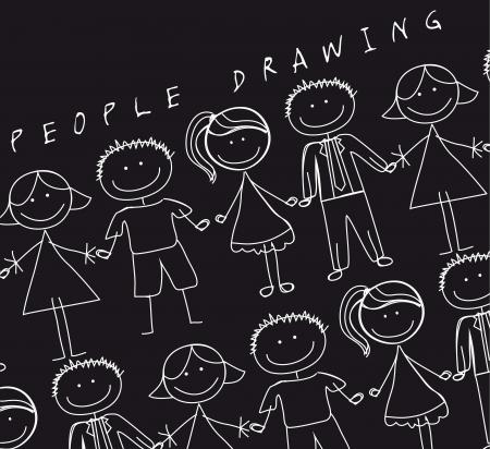 niños platicando: la gente de la mano sobre fondo negro, dibujo. vector Vectores