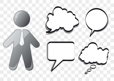 businessman with balloons text over square background. vector Stock Vector - 14551261
