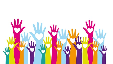 with raised: colorful hands up with hearts over white background. vector