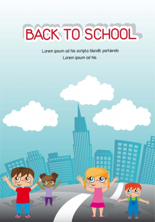 announcement back to school with children. vector illustration  Vector