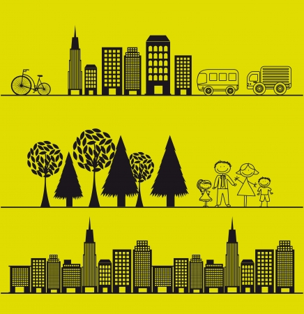 nature and city over green background. vector illustration Vector